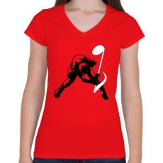 PRINTFASHION Zúzás - Női V-nyakú póló - Piros
