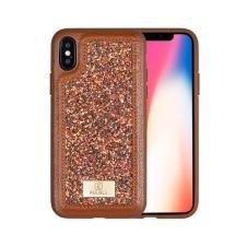 Puloka Glitter prémium hátlaptok Apple iPhone X, barna tok és táska