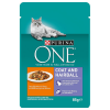 Purina One 12x85g Purina ONE Coat & Hairball nedves macskatáp-csirke/zöldbab