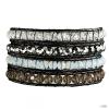 RafaelaDonata karkötő valódi bőr Fekete üvegkristály klar/barna hellKék/ezüstszínűn
