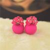 Ragyogj.hu Dupla fülbevaló virágcsokorral- rózsaszín
