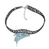 Ragyogj.hu Gótikus csipkés nyaklánc- pillangó szárny alakú medállal- világoskék