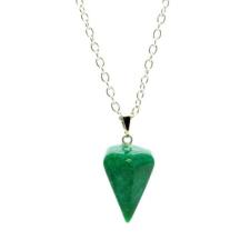 Ragyogj.hu Gúla alakú természetes kőből készült nyaklánc - zöld márványhatású nyaklánc