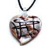 Ragyogj.hu Muránói üveg medál, szív alakú - barna