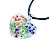 Ragyogj.hu Muránói üveg medál, szív alakú, virágokkal - bordó-királykék-narancssárga