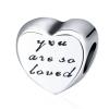 Ragyogj.hu Pandor@ Style ezüstözött szív medál-Üzenet
