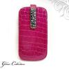 Ragyogj.hu Swarovski kristályos bőr telefontok - pink, fehér kristállyal