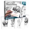 Rajztanítás - Grafikai ajándékkészlet - Állatkerti állatok - 4 db nagyméretű képpel