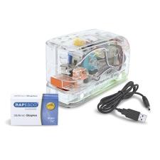 """RAPESCO Tűzőgép, 26/6, 15 lap, műanyag, elemes, USB töltővel, RAPESCO """"626EL"""", átlátszó tűzőgép"""