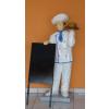 Reklámfigura/140 cm/LAMINÁLT/fehér felső-kék szegéllyel/táblával-kiegészítővel/hamburger-pizza-torta-kenyér-sült csirke-malacfej
