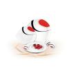 ROTBERG Desszertes tányér, porcelán, 22 cm átmérőjű, ROTBERG, fehér, piros-fekete mintával