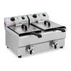 ROYAL CATERING Vendéglátóipari fritőz - 2 x 10 liter - leeresztő csapok - 230 V