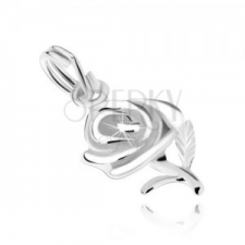 Rózsa virág két levélkével, medál 925 ezüstből medál
