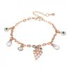 Rózsaarannyal bevont bagoly charm karkötő ausztriai kristályokkal + AJÁNDÉK DÍSZDOBOZ (0827.)