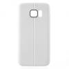 Samsung Galaxy S7 SM-G930, TPU szilikon tok, bőrhatású, varrásminta, fehér