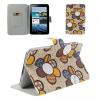 Samsung Galaxy Tab 2 7.0 P3100, bőrtok, mappa tok, virágminta, bézs