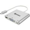 SANDBERG port replikátor   USB-C   Mini Dock   VGA+USB