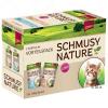 Schmusy Nature Kitten vegyes gazdaságos csomag 12 x 100 g - Borjú, szárnyas, tészta & útifű maghéj + bárány, lazac, rizs & halolaj