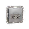 Schneider Electric SDD113467S Informatikai csatlakozóaljzat 2xRJ45, Cat6A STP, alumínium burkolattal, keret nélkül, csavaros bekötés (Sedna Design / Elements)