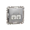 Schneider Electric SDD113492 telefoncsatlakozó 2xRJ11, alumínium burkolattal, keret nélkül, csavaros bekötés (Sedna Design / Elements)