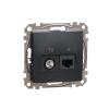 Schneider Electric SDD114469T kombinált csatlakozóaljzat 1xRJ45 + 1xTV (informatikai UTP cat6 + végzáró 4dB) antracit burkolattal, keret nélkül, csavaros bekötés (Sedna Design / Elements)