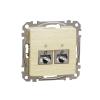 Schneider Electric SDD180467S Informatikai csatlakozóaljzat 2xRJ45, Cat6A STP, nyír burkolattal, keret nélkül, csavaros bekötés (Sedna Design / Elements)