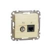 Schneider Electric SDD180469T kombinált csatlakozóaljzat 1xRJ45 + 1xTV (informatikai UTP cat6 + végzáró 4dB) nyír burkolattal, keret nélkül, csavaros bekötés (Sedna Design / Elements)