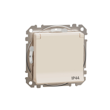 Schneider Electric SDD212023 vízmentes földelt csatlakozóaljzat (dugalj), biztonsági zsaluval (gyermekvédelemmel), csapófedéllel, 2P+F, bézs burkolattal, csavaros bekötés, keret nélkül, süllyesztett, 16A 250V IP44 (Sedna Design / Elements) hűtés, fűtés szerelvény