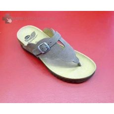 Scholl Coraline taupe bioprint női velúr lábujjközi papucs - kényelmi modell 37-39