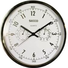 Secco Falióra, 30,5 cm, páratartalom mérővel, hőmérővel,fehér számlap, SECCO, króm keret falióra