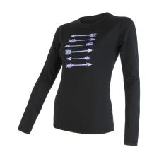Sensor Merino Wool PT nyilak h. ujjú M / fekete női póló
