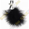 Sex & Mischief Feathered Nipple Clamps - tollas bimbócsipesz - fekete