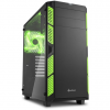 Sharkoon AI7000 Glass táp nélküli ATX számítógépház fekete-zöld
