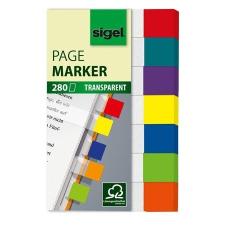 "SIGEL Jelölőcímke, műanyag, 7x40 lap, 20x50 mm, SIGEL ""Clear Mini"", vegyes szín, 280 lap jegyzettömb"
