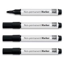 SIGEL Táblamarker, 1-3 mm, kúpos, 4 db/csomag, SIGEL, fekete filctoll, marker