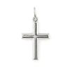 """""""Sima kereszt"""" ezüst színű, préselt ezüst medál. Az erli 2,8 mm legfeljebb vastag lánchoz használható. Legszebb cardano vagy kígyólánccal. (Méret: magasság erlivel ×szélesség)"""