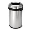 SimpleHuman Nyitott tetejű szemetes, rozsdamentes acél, 80 l, SIMPLEHUMAN, ezüst