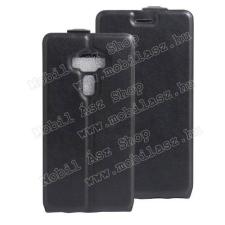 SLIM FLIP tok - FEKETE - lefelé nyíló, rejtett mágneses záródás, szilikon belsõ, bankkártya tartó, elõlapi hangszóró nyílás -  LG K3 tok és táska