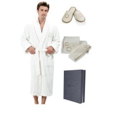 Soft Cotton SEHZADE férfi fürdőköpeny ajándákcsomagolásban + törölköző + papucsok L + papucs (42/44) + törölköző