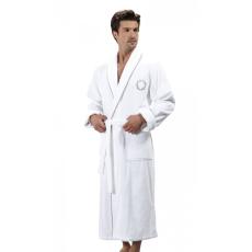 Soft Cotton SEHZADE férfi fürdőköpeny S Fehér - ezüst hímzés / White - silver embroidery