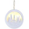 SOLIGHT LED függesztett dekoráció, erdő és házikó, fehér, 2x AAA