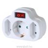 Somogyi NVK 3/WH hálózati elosztó, kapcsolós 3 aljzat (1 földelt + 2 euró)