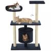 Sötétkék macskabútor szizál kaparófákkal 95 cm