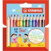 """STABILO Színes ceruza készlet, háromszögletű, STABILO """"Trio"""", 12 különböző színben"""
