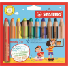 """STABILO Színes ceruza készlet, kerek, vastag,  """"Woody 3 in 1"""", 10 különböző szín"""