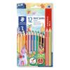 """STAEDTLER Színes ceruza készlet, háromszögletű, vastag, hegyezővel,  """"Noris Super Jumbo"""", 10+2 különböző szín"""