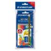 STAEDTLER Színes ceruza készlet, hatszögletű, ajándék grafitceruzával és radírral, STAEDTLER Noris Club, 12 különböző szín (TS61SET6)