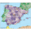 Stiefel Eurocart Kft. Spanyolország és Portugália postai irányítószámos térképe (fóliás-fémléces)