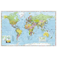 Stiefel Falitérkép, 136x96 cm, fémléces, Föld országai, tapéta, díszléc és más dekoráció