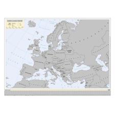 Stiefel Kaparós Európa országai térkép, 78x57 cm, STIEFEL, ezüst bevonat térkép